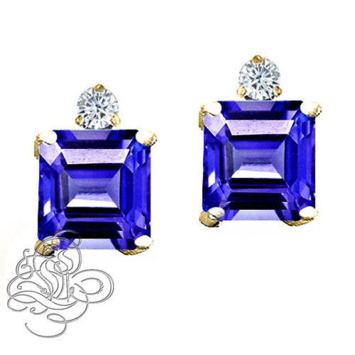 6x6MM 14K W//Y PLATED GOLD SILVER PRINCESS BLUE SAPPHIRE STUD EARRINGS 2.49 CT