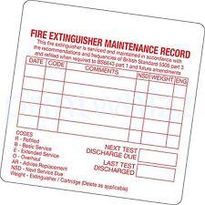 6x Fire Extinguisher Maintenance Record Sticker Printed Vinyl Label Factory Shop