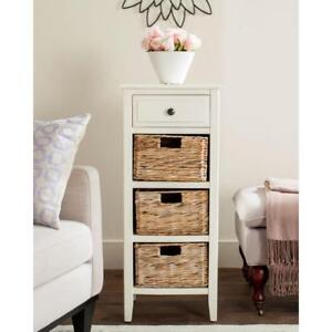 Image Is Loading Tall Narrow Dresser Wicker Cabinet Storage Baskets Organizer