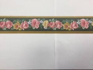 Bordo Adesivo per camera sala greca color verde con fiori 5 mt x 5 ...
