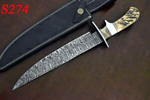 14-034-Custom-Hand-Made-Damascus-Steel-Hunting-Bowie-Knife-With-Ram-Horn-Handle