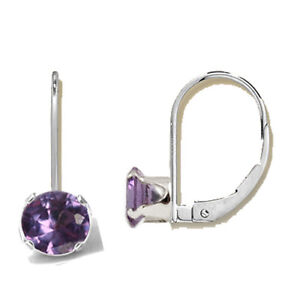 2614cffb4 Image is loading 925-Sterling-Silver-Lab-Created-Round-Alexandrite -LeverBack-