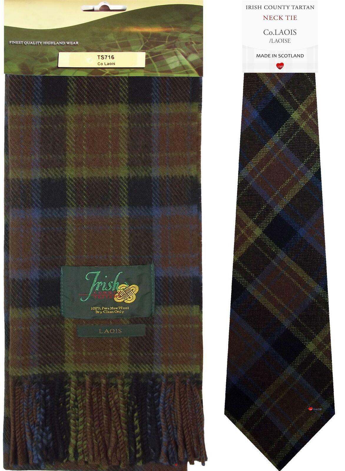 Irish County Laois Tartan Lambswool Scarf and Wool Necktie Gift Set