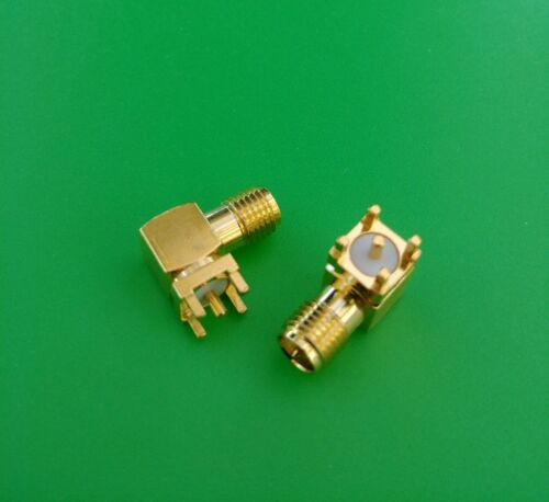2 PCS USA Seller SMA Male Right Angle Solder PCB Mount Connector