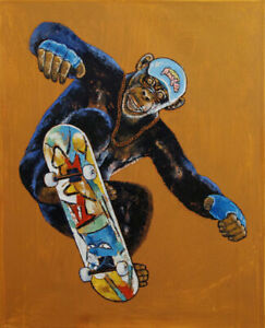 SKATER-16x20-034-Oil-Painting-Chimpanzee-Monkey-Skateboard-Original-Art-M-Creese