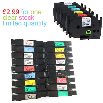 Label Tape fits Brother P-Touch PT-H101C PT-E100 PT-E100B PT-1000 12mm