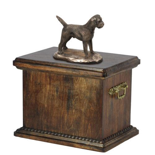 Madera Maciza ataúd Border Terrier Memorial urna para perro cenizas con Perro Estatua.