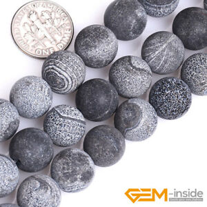 Black-Fire-Crackle-Agate-Frost-Round-Beads-For-Jewelry-Making-15-034-6mm-8mm-10mm
