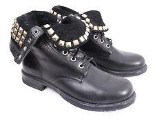 FRYE Rogan Studded Lace Black Leather Fold Top Cuff Combat Biker Boots Women 7 B