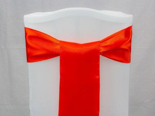 100 Orange Satin Rubans Fauteuil Housse Nœud Écharpe pour mariage-Vendeur Britannique-Free Ship