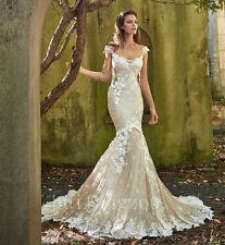 Wedding Dresses Champagne Bridal Gowns Mermaid Size 4 6 8 10 12 14 16 18 Plus