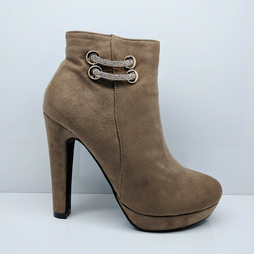 WOMENS LADIES KHAKI CHUNKY BLOCK VERY HIGH HEEL ANKLE BOOTS ZIP UP SHOES SIZE