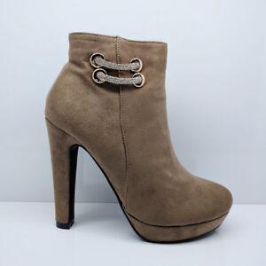 Debardeur-femme-kaki-et-talon-bottier-Tres-Haut-Talon-Cheville-Bottes-Fermeture-Eclair-Chaussures