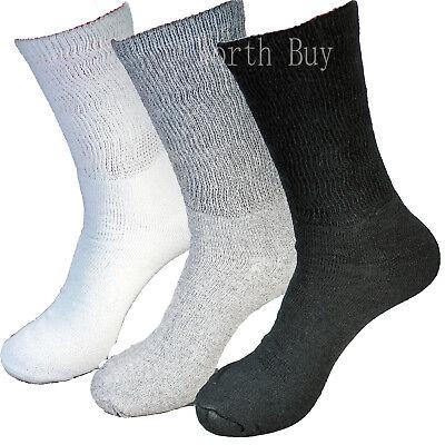 6 Pairs Diabetic Crew Circulatory Socks Health Mens Cotton White 10-13