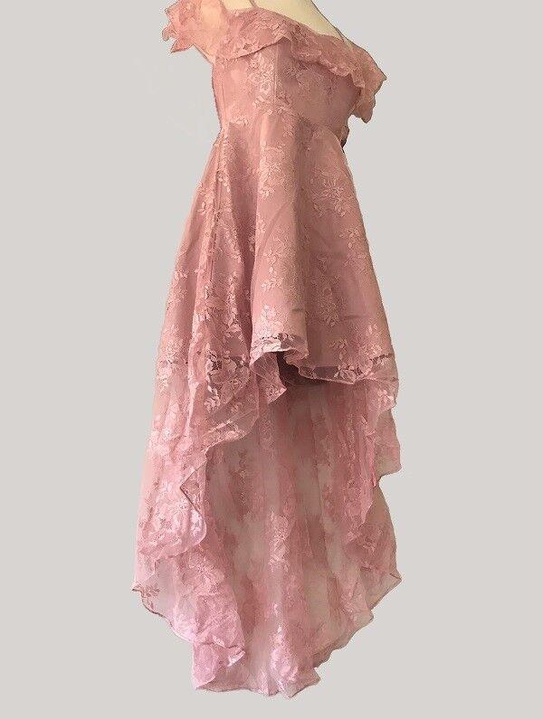 High-Low (Fishtail) Lace Dress Dress Dress - Size 10, Dusty pink 2da387