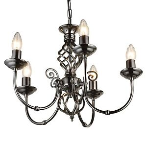 Classic 5 light chandelier ceiling light twist gun metal ebay image is loading classic 5 light chandelier ceiling light twist gun mozeypictures Images