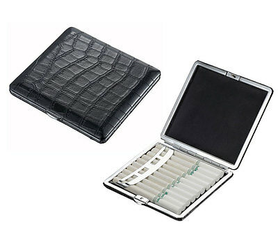 Visol Crocodile Patterned Black Leather Cigarette Case Holds 10 Regular Size