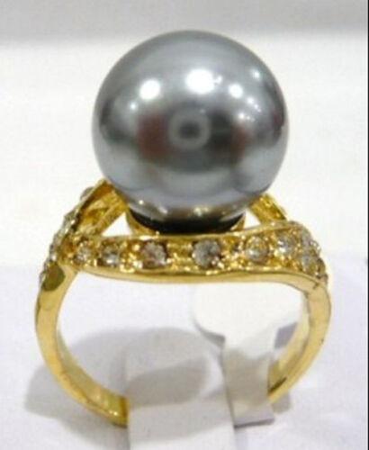 12 mm Rose Violet Rouge Gris Bleu Noir Café Vert Shell Pearl Jade 18KGP Ring