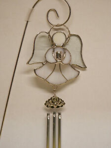 Stained-Glass-Angel-Windchime-White