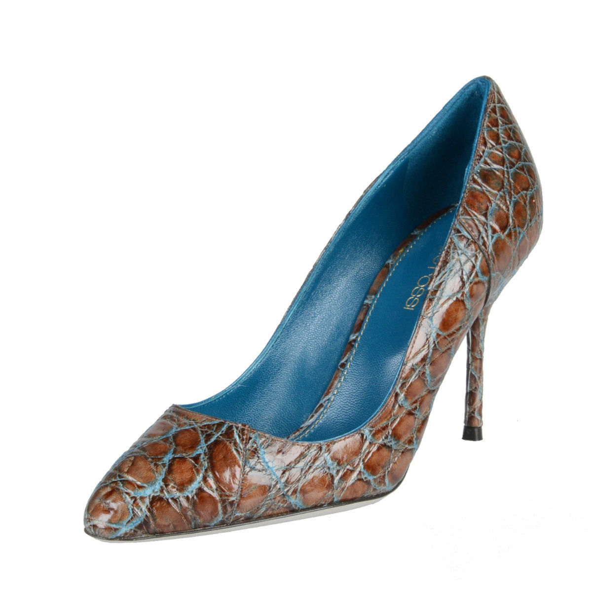 Sergio Rossi Women's Croc Skin High Heel Pumps shoes 5 5.5 6.5