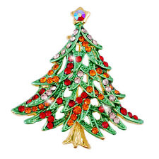 Christmas Tree Green & Red Brooch Pin Shiny Decoration for Xmas BR241