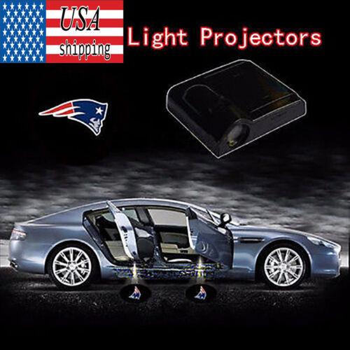 2x New England Patriots Logo Car Door Wireless LED Laser Projector Shadow Light