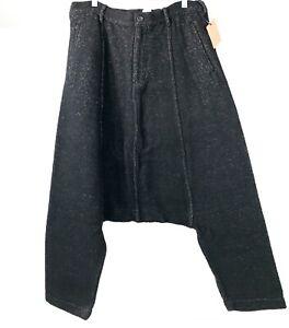 NWT-Comme-Des-Garcons-Cotton-Rayon-Short-Baggy-Pants-Long-Crotch-Black-Size-M