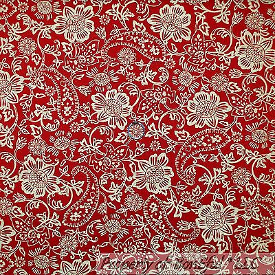 """Red Paisley Cotton Fabric Material Craft Quilting FQ Metre 45/"""" Wide Shabby Chic"""