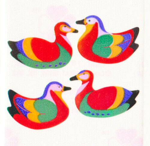 Vintage 80/'s Great Seven 7 PEARLY Mandarin Ducks Birds Sticker Mod
