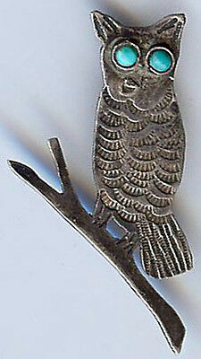 *VINTAGE NAVAJO INDIAN SILVER TURQUOISE OWL ON BRANCH PIN*