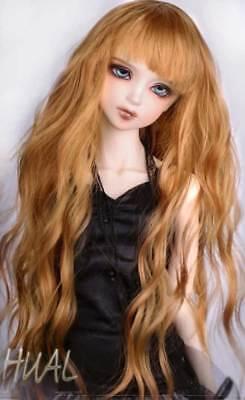 "7-8/"" 1//4 BJD Long Curly Wavy Shimmering Golden Light Brown Wig Doll Hair LP-454"