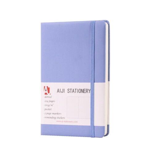Notizbuch//Tagebuch,AIJI PU hautsanft Blau Gepunktet zwischen A5 A6 100g//m²
