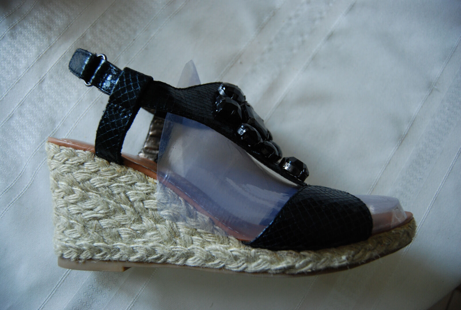 Black Snakeskin Texture LIBBY 8.5 EDELMAN Billie OpenToe Jeweled Wedges 8.5 LIBBY W e3e0c4