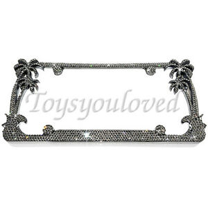 Palm Tree Name Crystal Bling License Plate Frame Made With