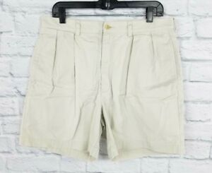 Polo-Ralph-Lauren-Classic-Chino-Shorts-mens-35-Waist-Beige-Cotton-Pleated