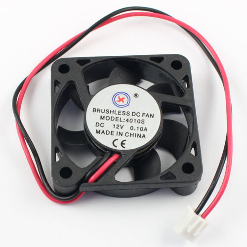 2Pcs Brushless 7 Blade DC Cooling Fan 12V 4010S 2 Wire