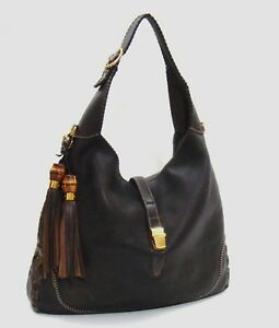 71a2c841053c $2800 Gucci Dark Brown Distressed Pebbled Leather 'New-Jackie Large ...