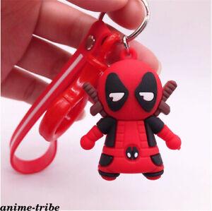 Marvel-Comics-Deadpool-Iron-Man-Key-Ring-PVC-Key-Chain-Boy-3D-Stereo-Car-Pendant