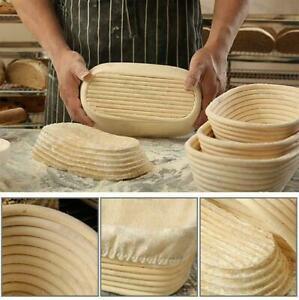 Banneton panier de fermentation pain pâte à lever rotin doublure lin rond ovale