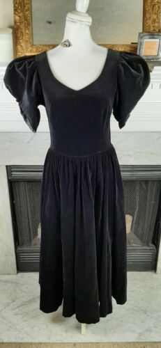 Vintage 80s Laura Ashley Black Velvet Puff Sleeve