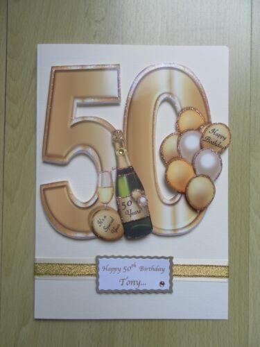 Fait Main 50th Carte d/'anniversaire-peut être Personnalisé-Toute relative//Ami