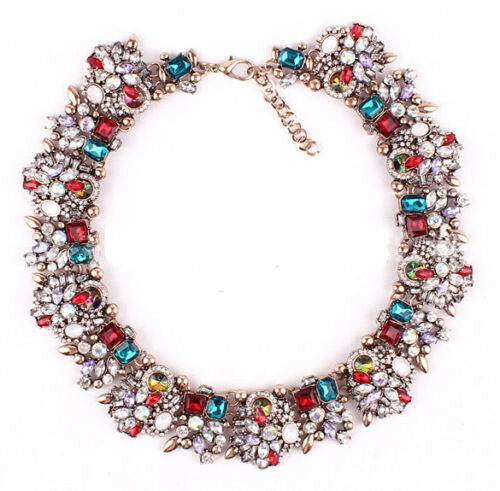 new design women bib statement rainbow bubble heavy mix crystal necklace collar