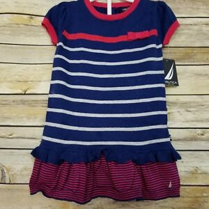 8c47e5861 Nautica Girl s Sweater Dress 18 Months Bloomers Navy Blue Red White ...