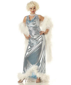 Women-SILVER-SCREEN-GODDESS-Marilyn-Monroe-Movie-Star-CA-Costume-SMALL-NEW
