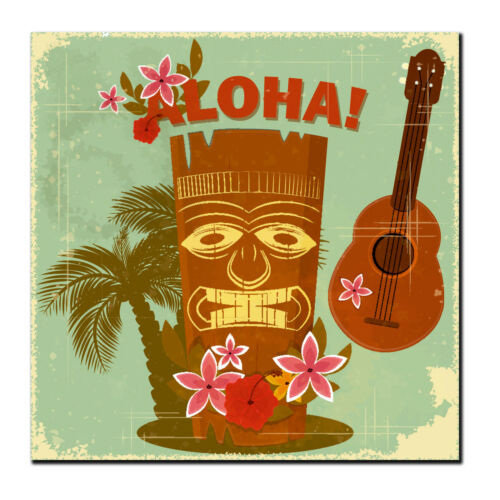 2 x Glossy Vinyl Stickers Aloha Hawaii Travel Tiki Fun iPad Laptop Decal #4025