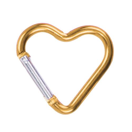 7Pcs Heart-shaped Aluminum Alloy Carabiner Light Wear-resistant Garget 5 Colors