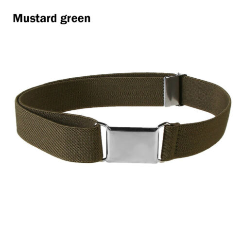 Solid Color High Elastic Adjustable Waistband Alloy Buckle Kids Canvas Belt