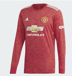 Adidas 2020-21 Manchester United Home Long Sleeve Red Jersey Men's ...