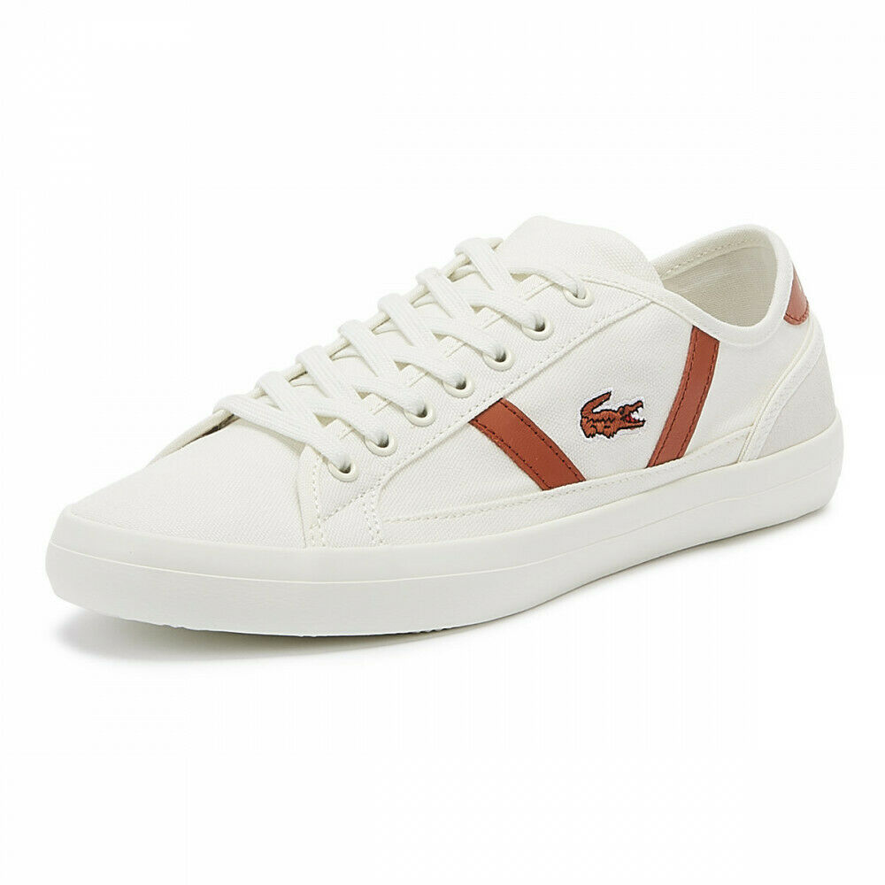 Mens Boys lacoste Sideline 119 4 cma off white red trainers shoes 7-37cma00704y0