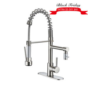 Ulgksd Brushed Nickel Kitchen Sink Faucet Pull Down Sprayer Mixer